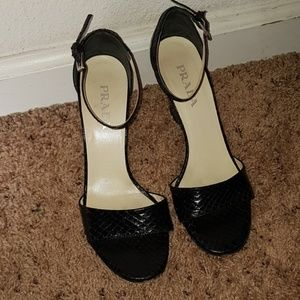 Prada snake skin black sandals wedges